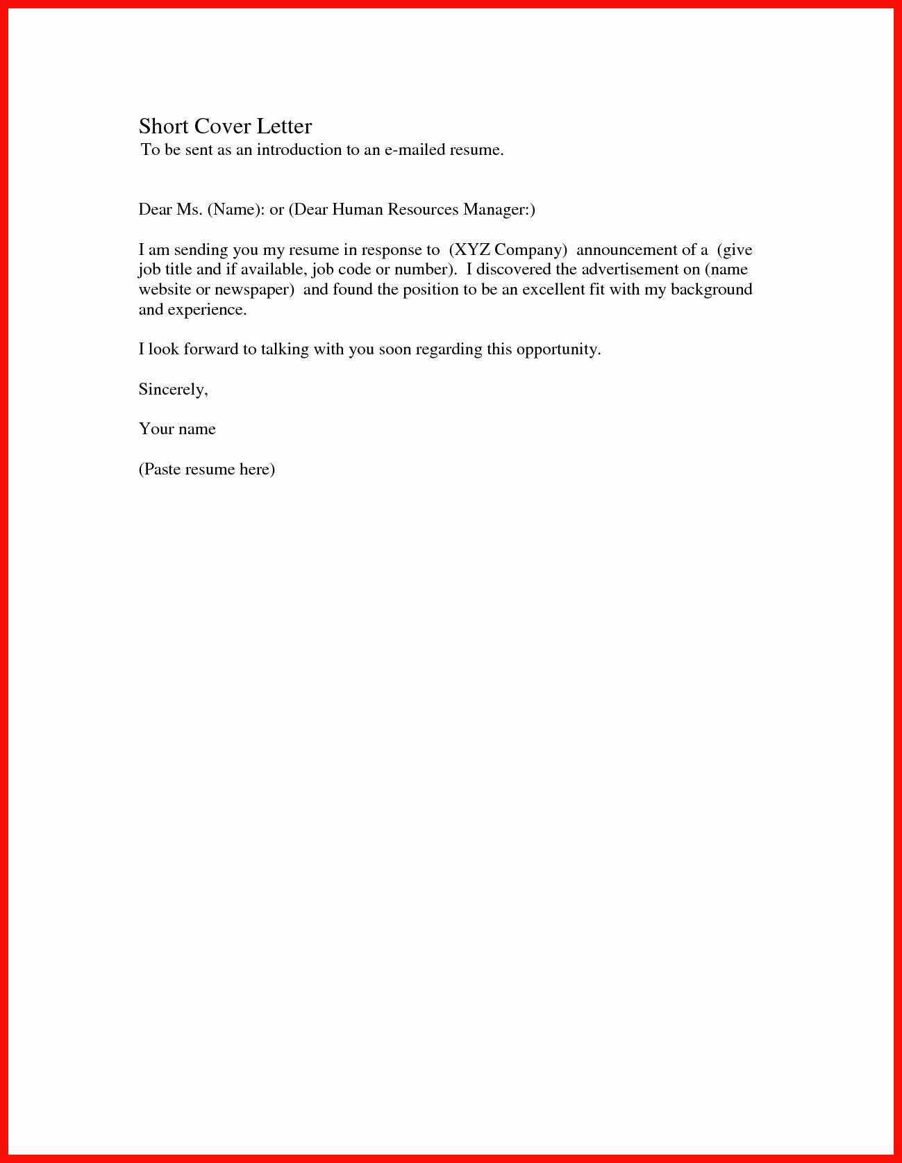 Cover Letter for First Job