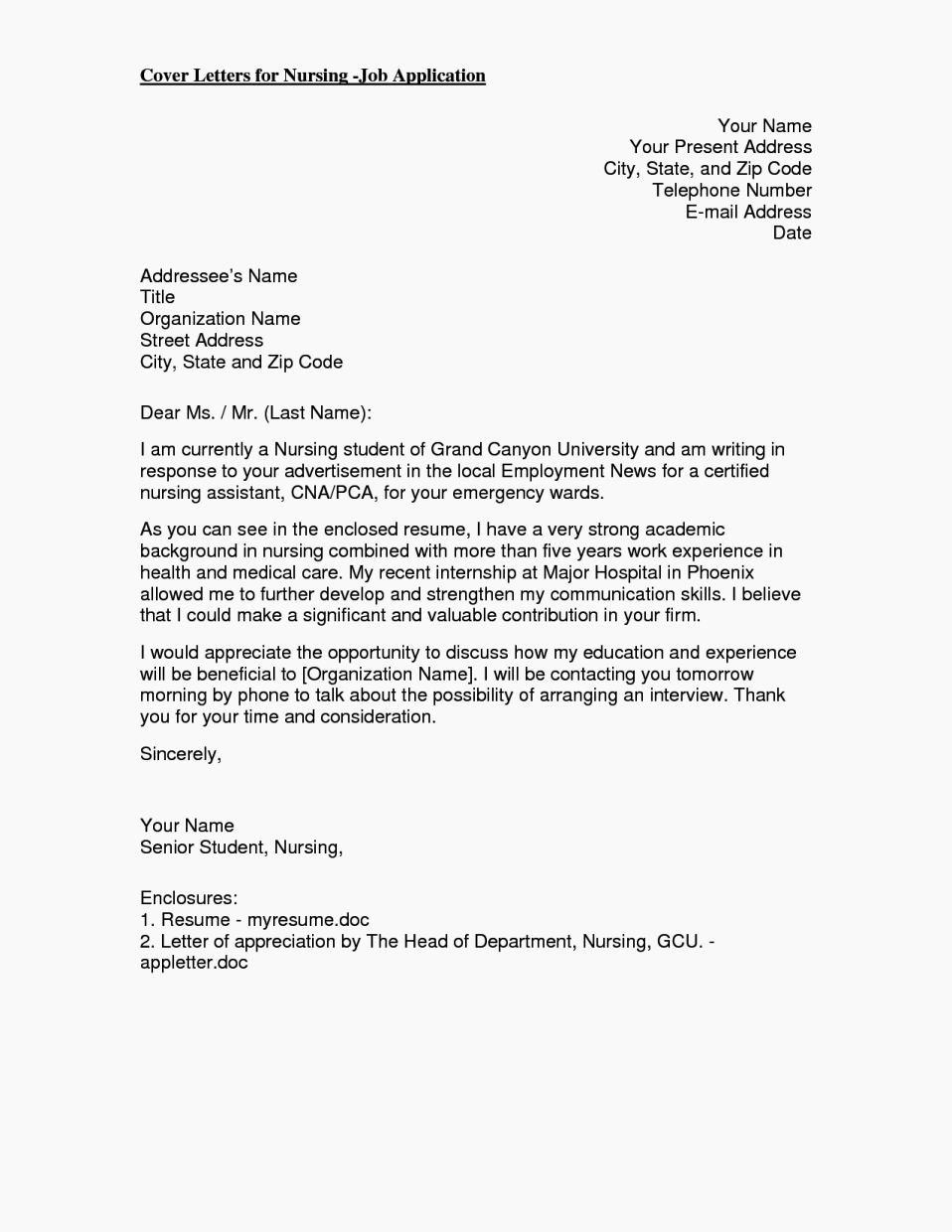 Cover Letter for Fnp Resume Template