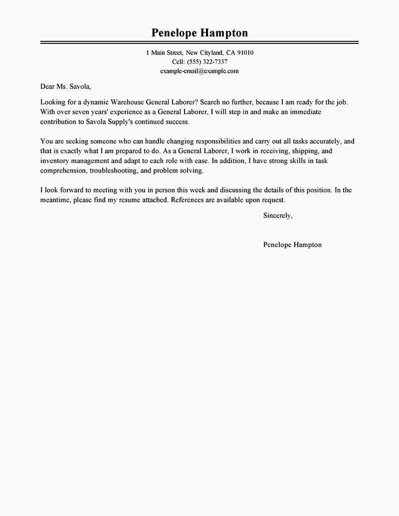 Cover Letter for General Employment