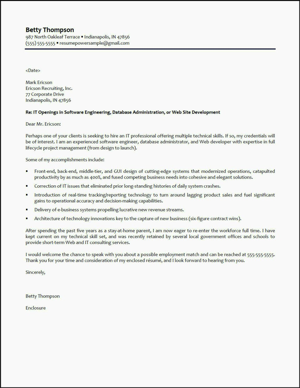 Cover Letter for Getting Back Into Workforce
