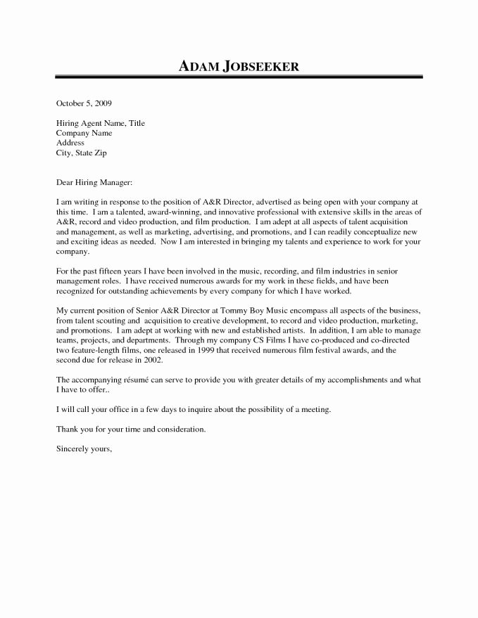 Cover Letter for Government Job