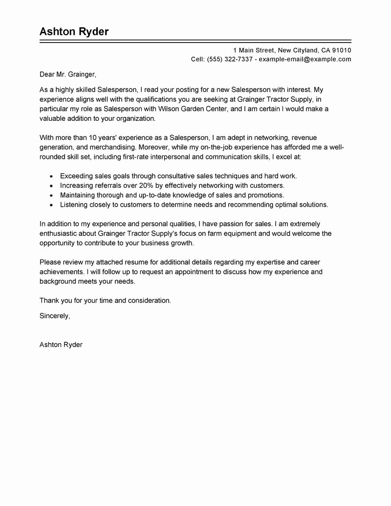 Cover Letter for Hospitality Industry Example