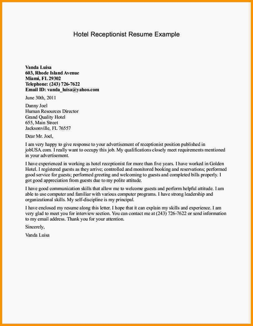 Cover Letter for Hotel Receptionist with No Experience