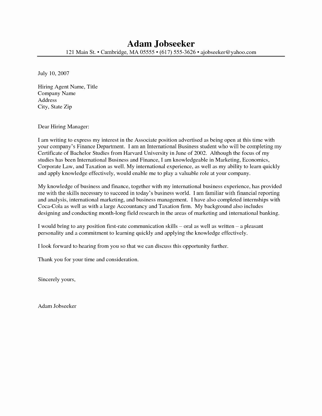 Cover Letter for Internship Resume Cover Letter Internship