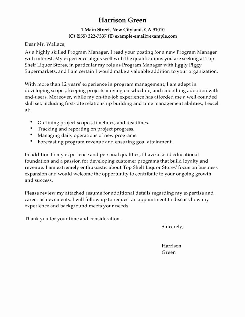 Cover Letter for Manager Position – Perfect Resume format