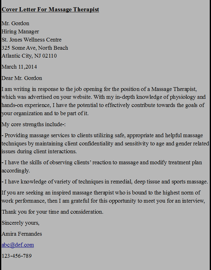 Cover Letter for Massage therapist