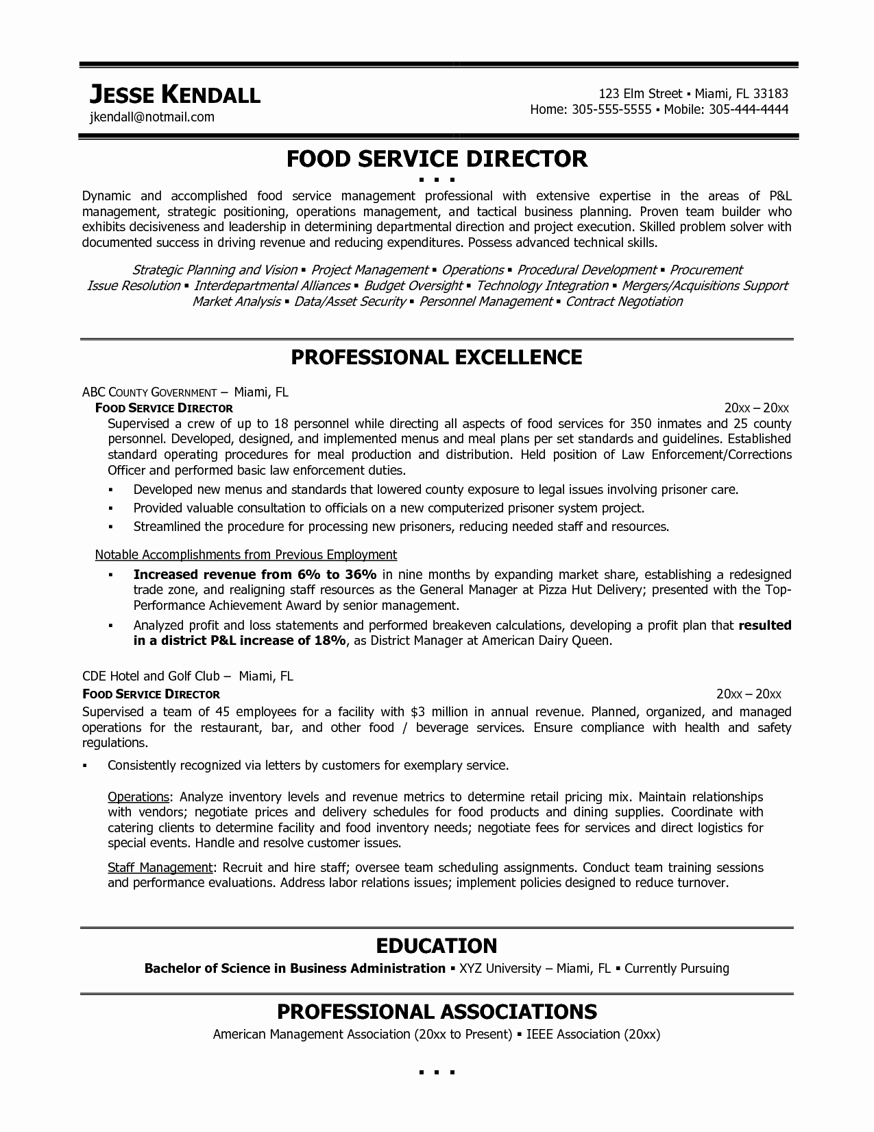 cover letter for school food service director