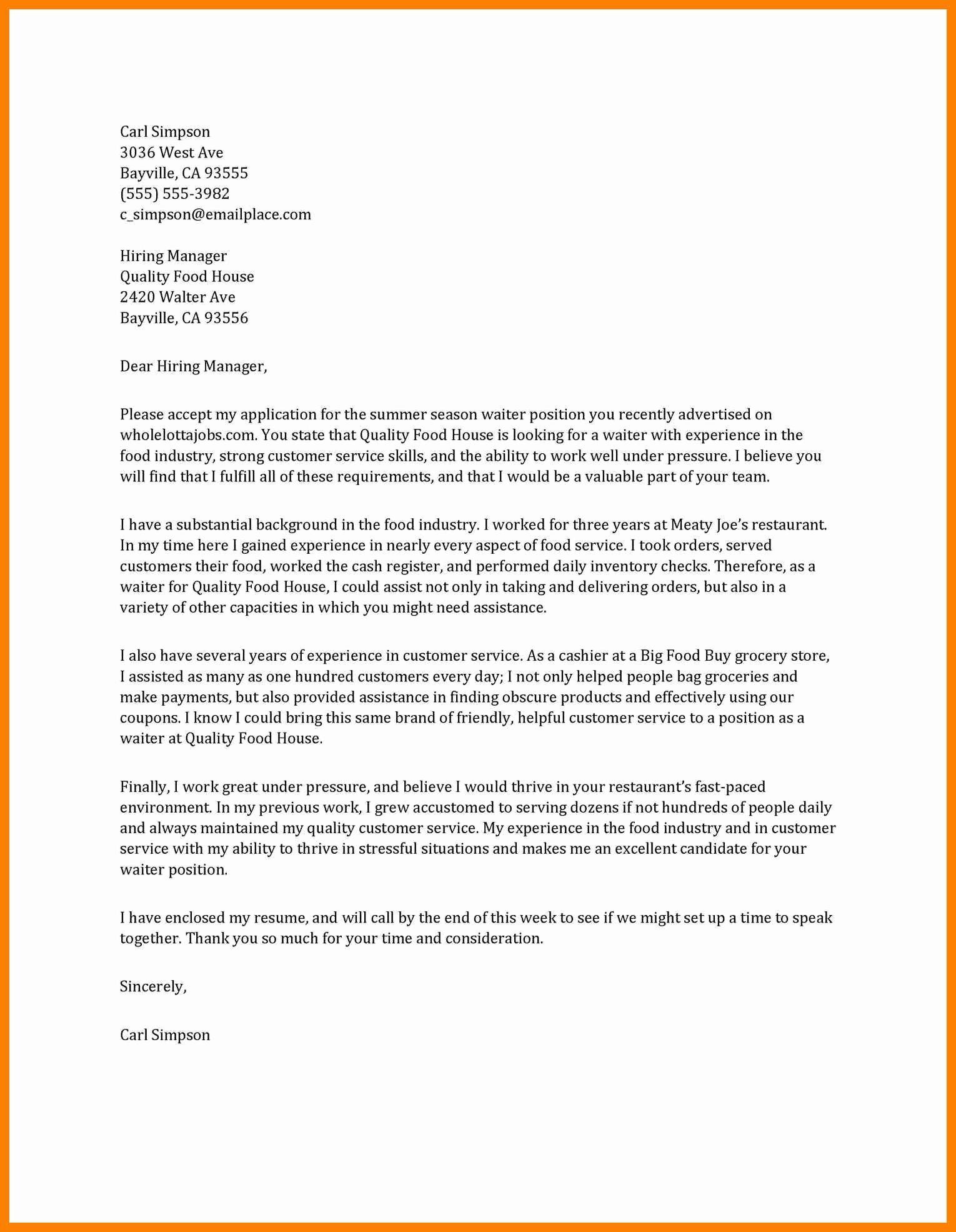 Cover Letter for Serving Job