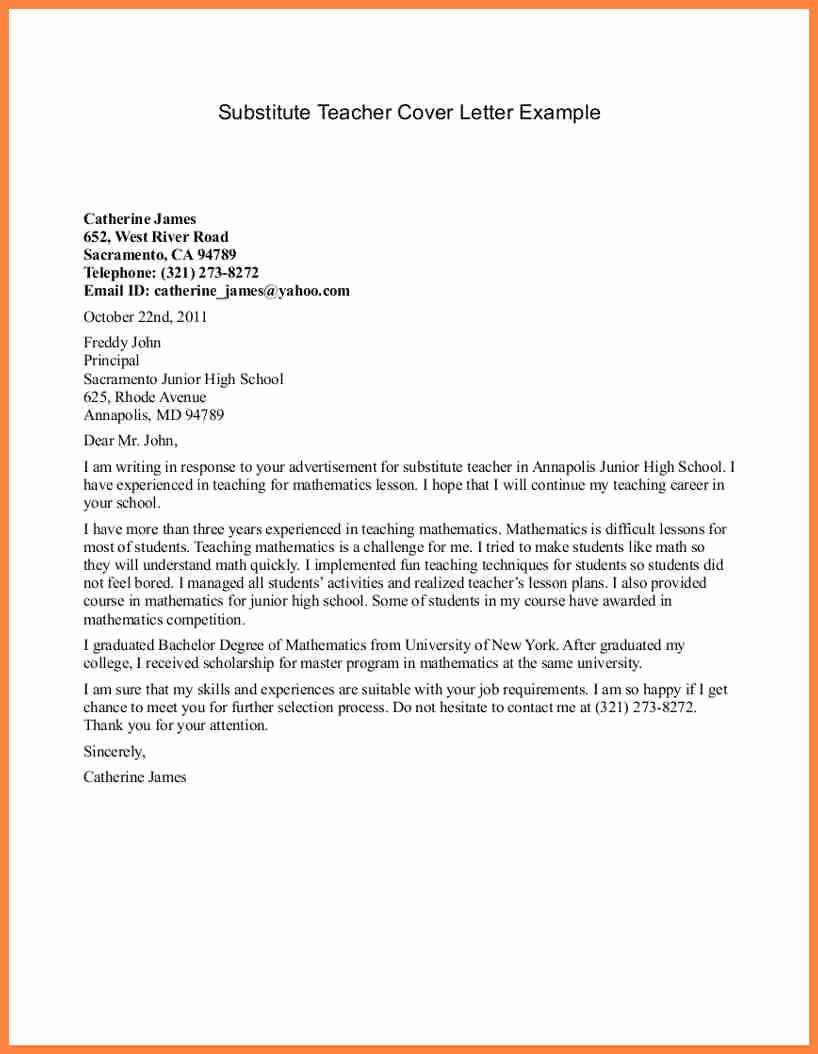 Cover Letter for Substitute Teacher – Perfect Resume format