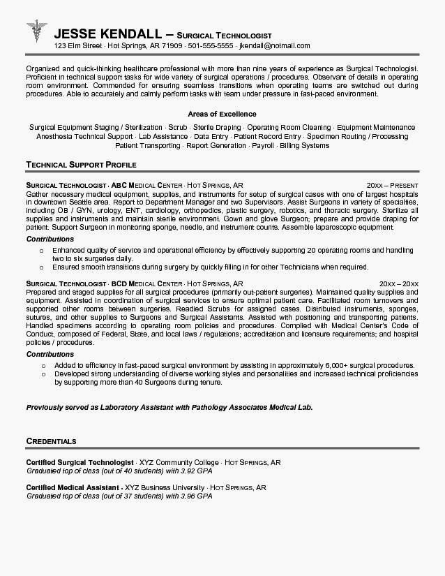Cover Letter for Surgical Technologist