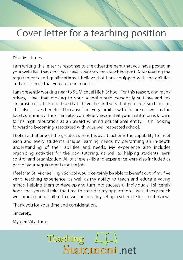 Cover Letter for Teaching Position Application