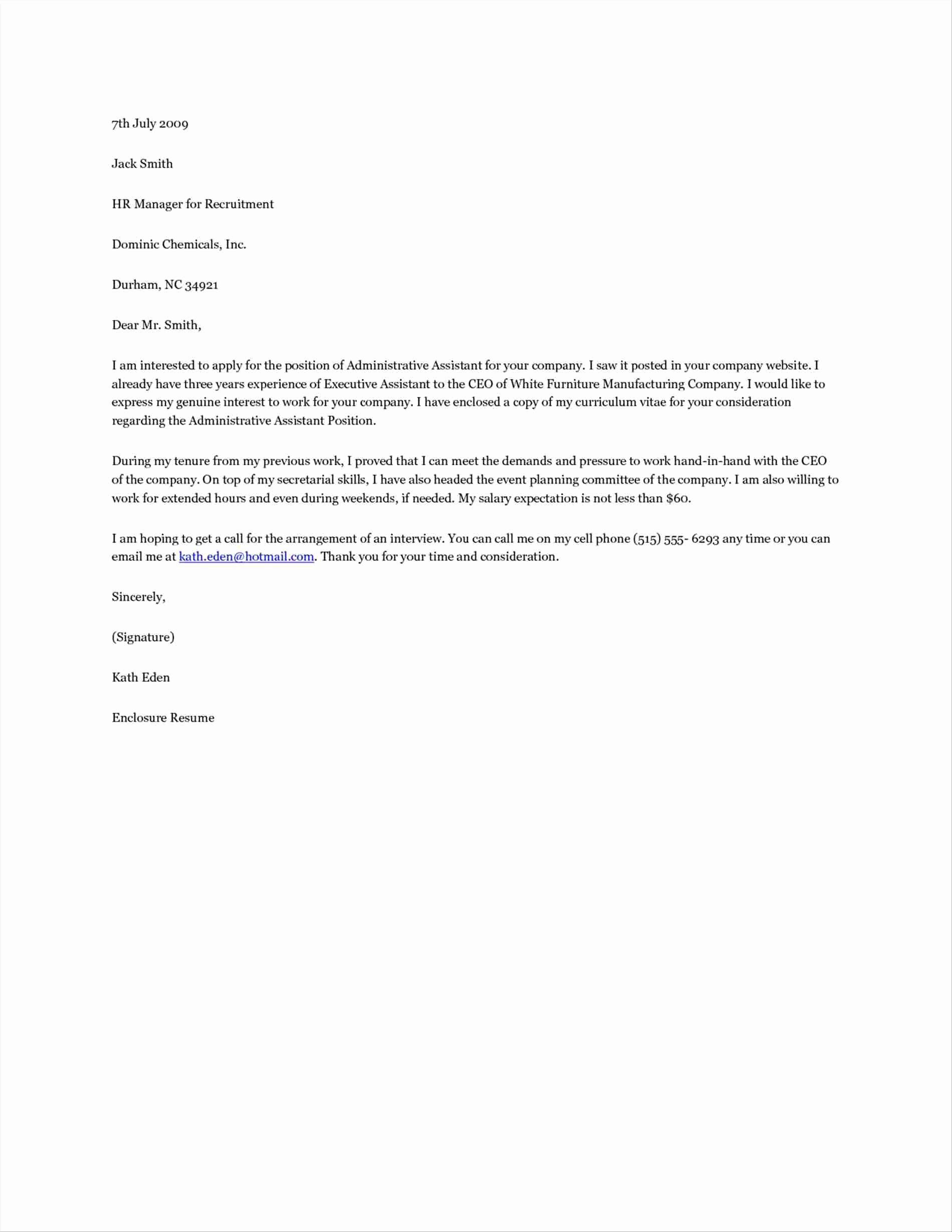 Cover Letter for Virtual assistant
