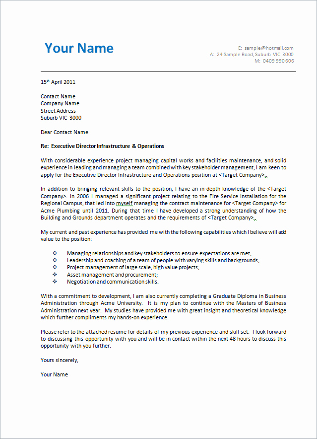 Cover Letter format Creating An Executive Cover Letter