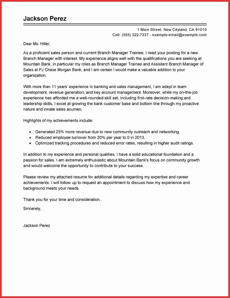 Cover Letter Hotel Manager