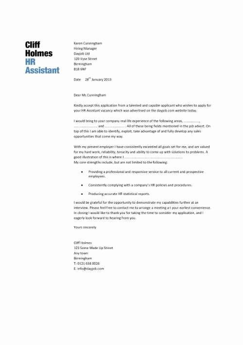 Cover Letter Human Resources assistant Letter Of