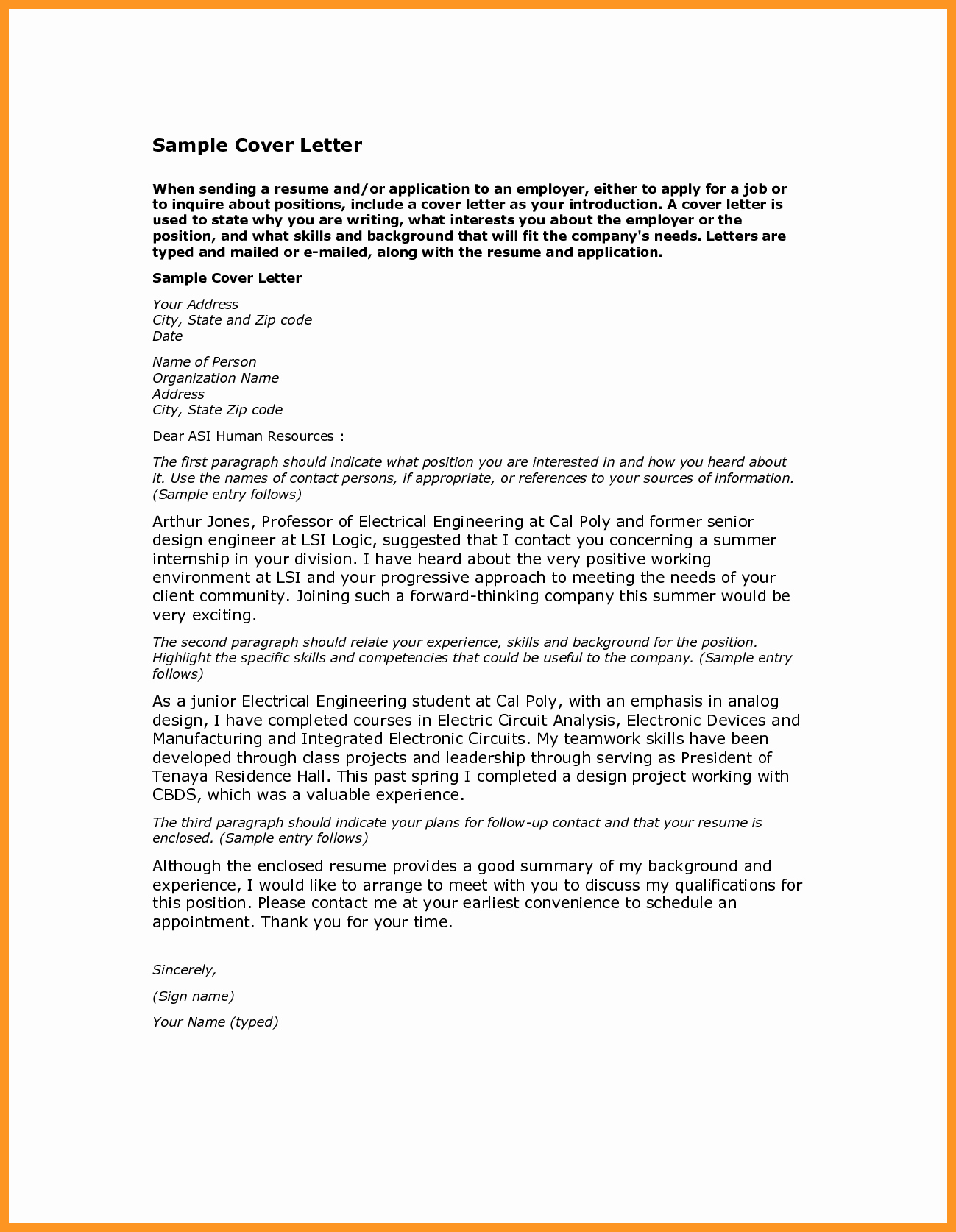 Cover Letter Job Application Sample