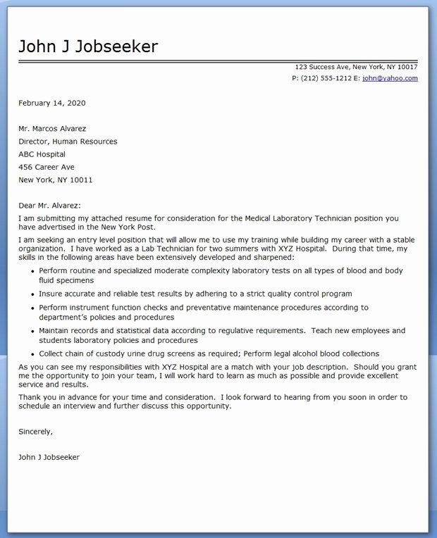 Cover Letter Medical Laboratory Technician