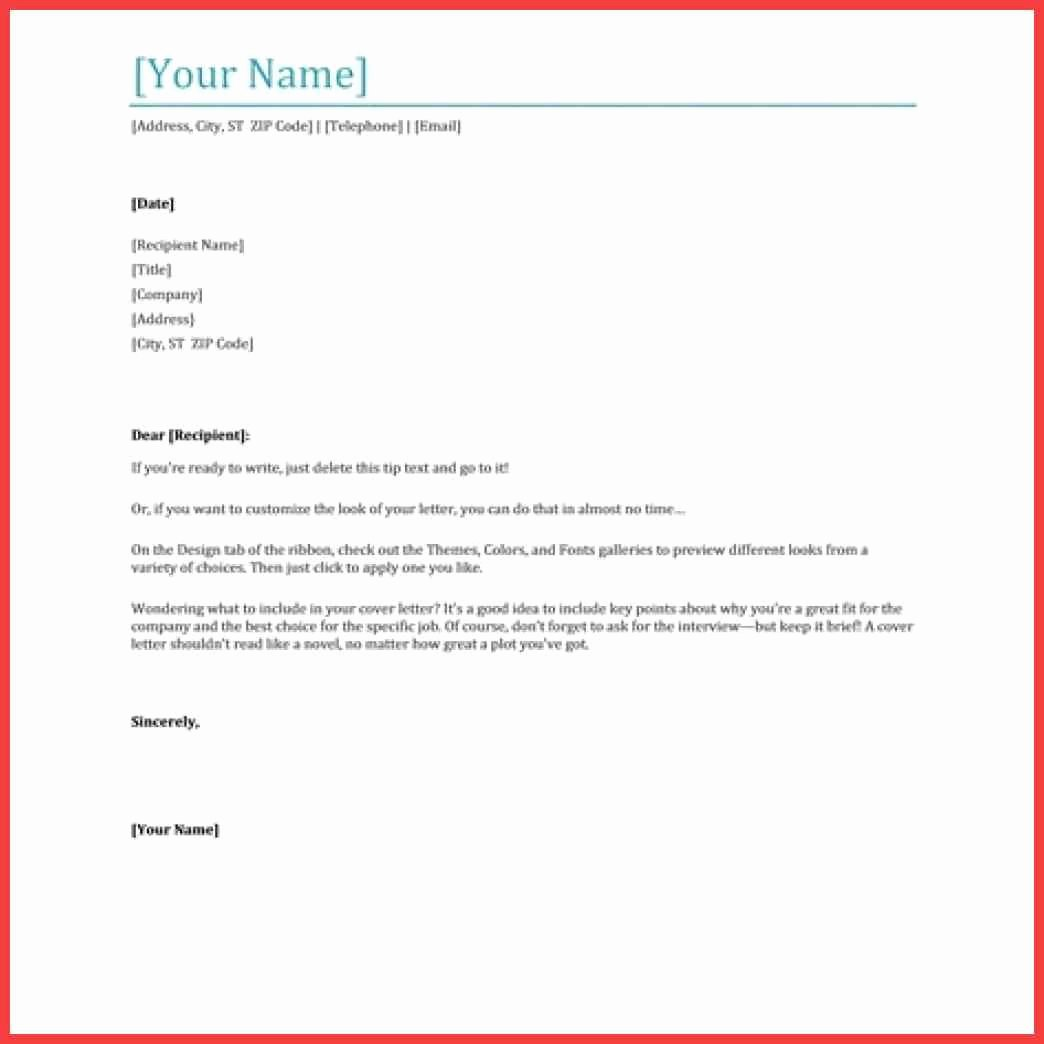 cover letter microsoft word