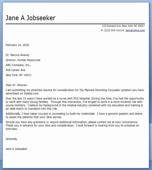 Cover Letter Nursing Career Change Career Life