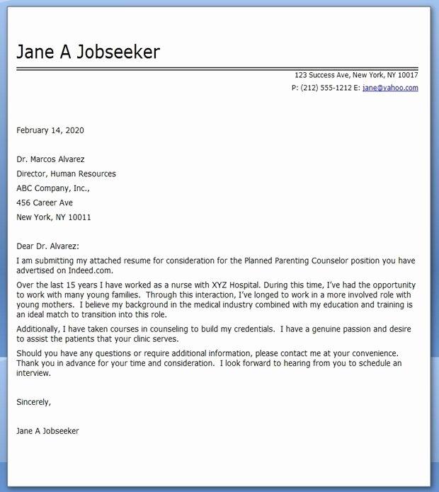 Cover Letter Nursing Career Change