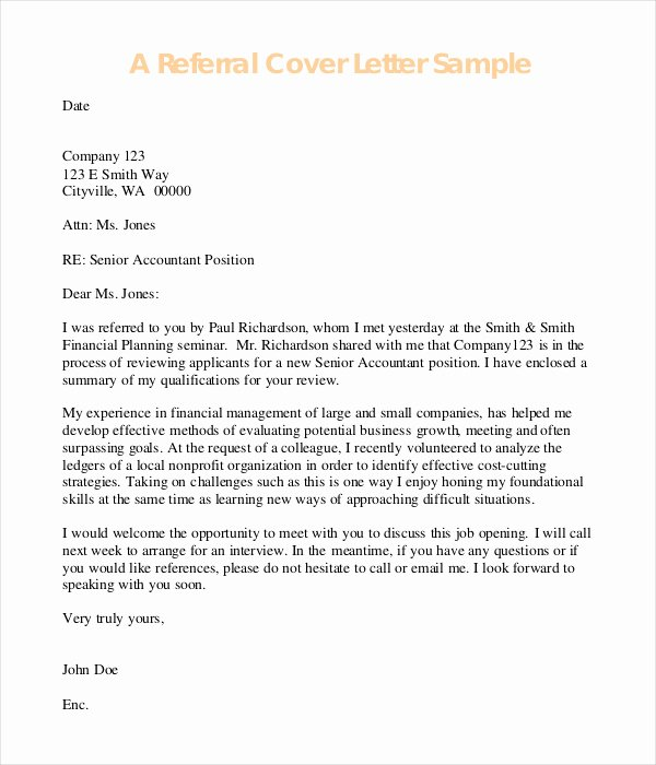 Cover Letter Opening Referral