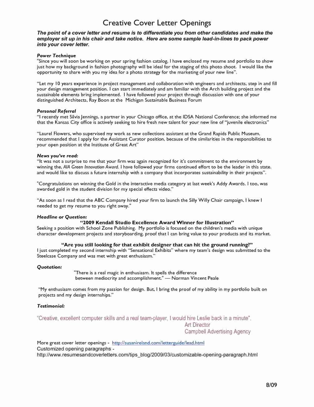 Cover Letter Opening Referral Latter Example Template