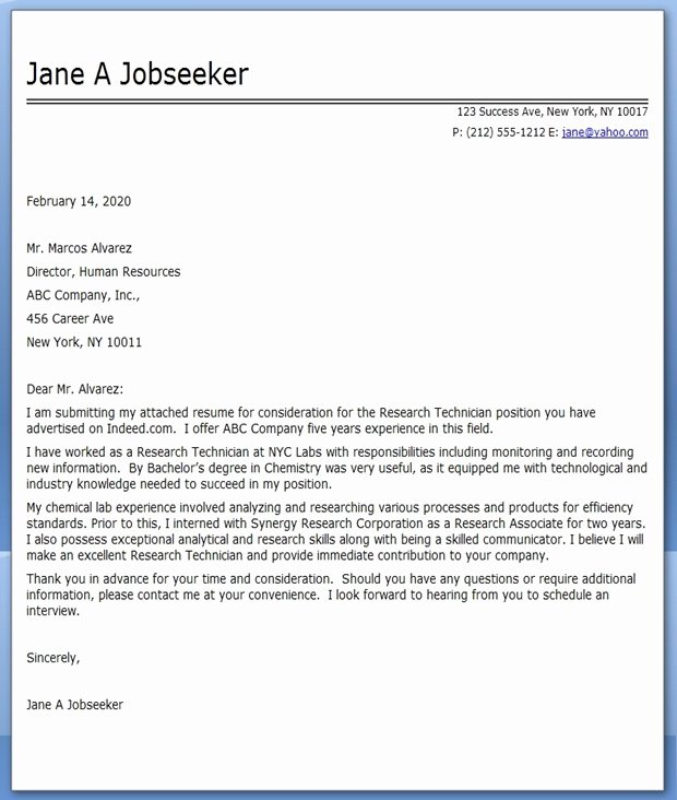 Cover Letter Research Technician