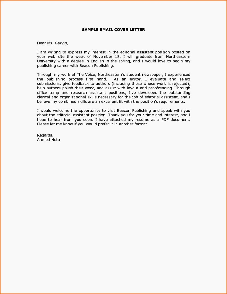 Cover Letter Sample Email Message