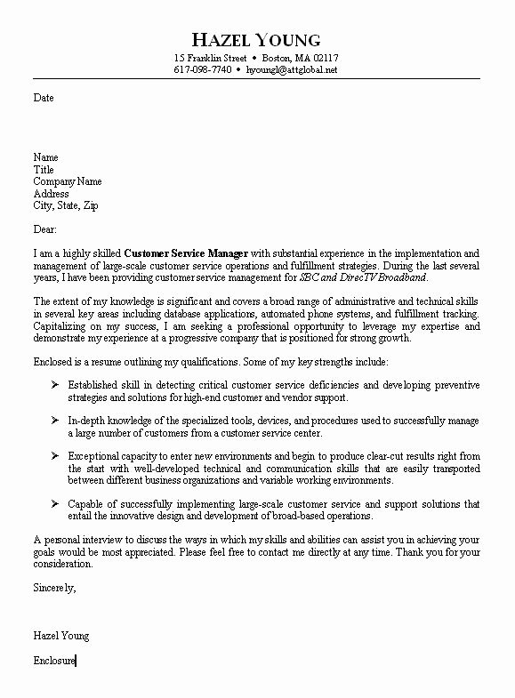 Cover Letter Sample for Customer Service associate