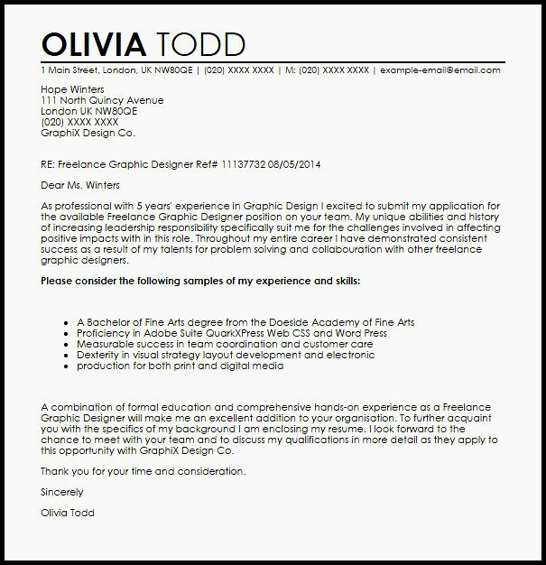 Cover Letter Sample Graphic Designer