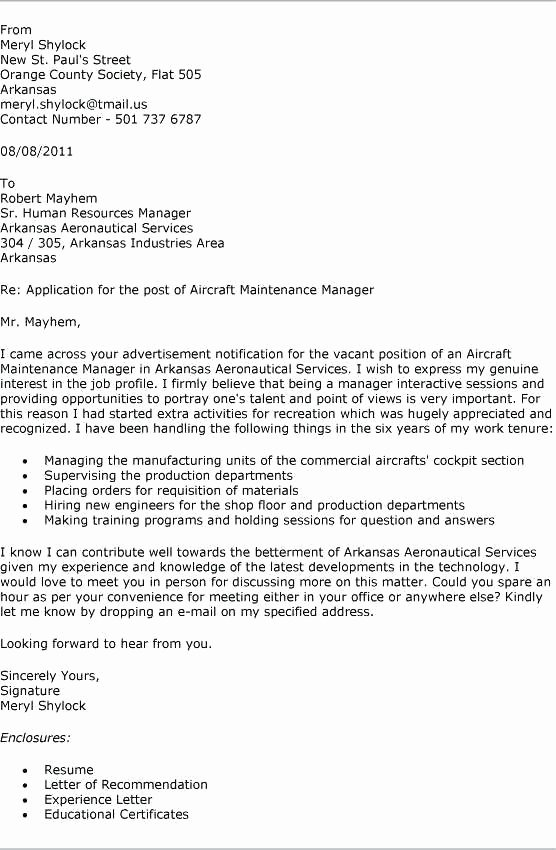 Cover Letter Sample Maintenance Worker
