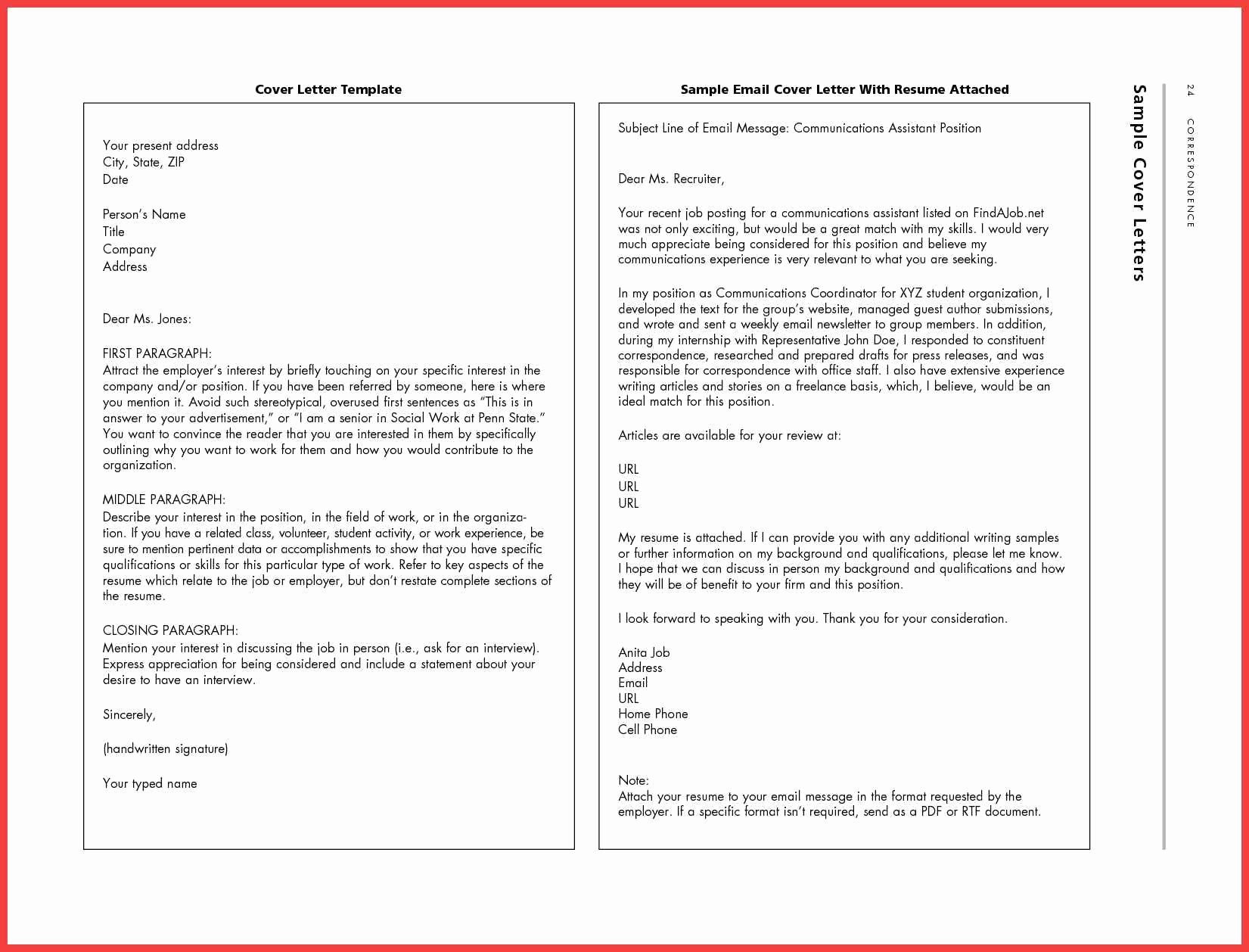 Cover Letter Template Email