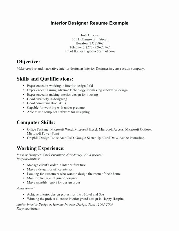 Cover Letter Template Interior Design