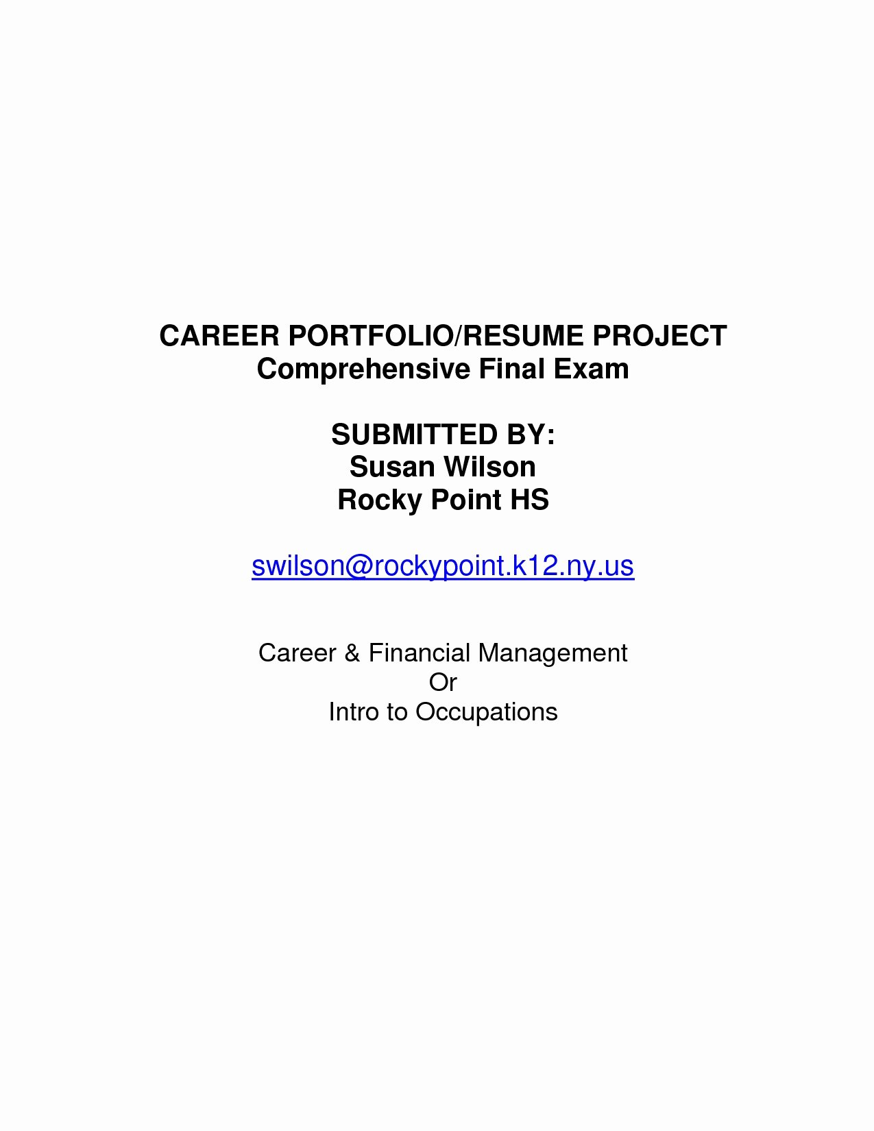 Cover Page format for Resume