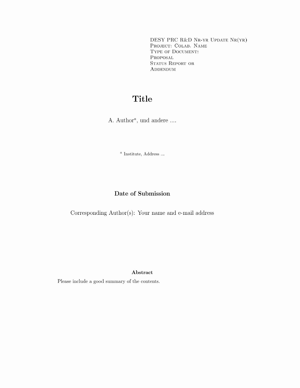 Cover Page Template