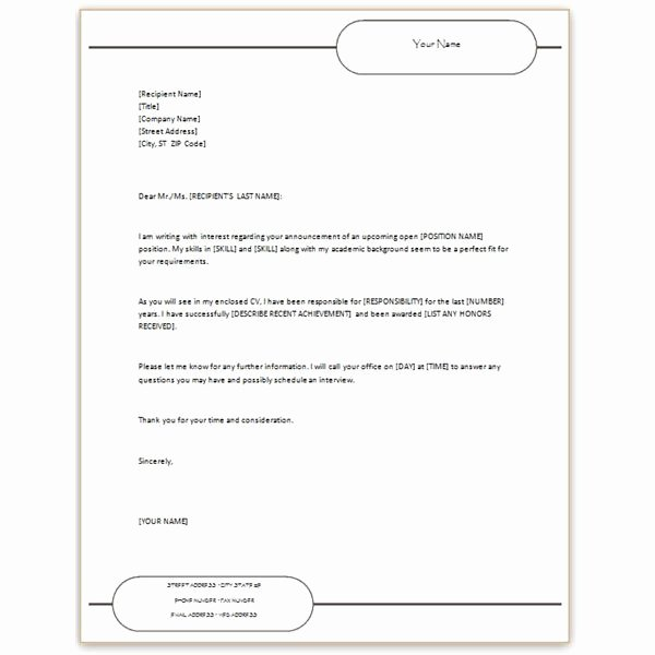 Covering Letter for Resume In Word format Letter Of