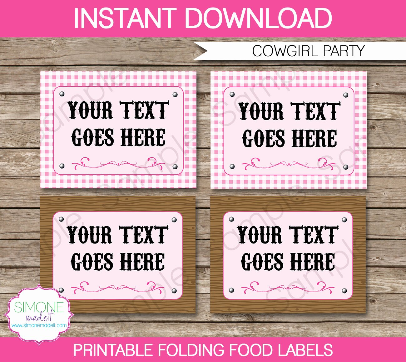 Cowgirl Food Labels Buffet Tags Tent Cards by Simonemadeit