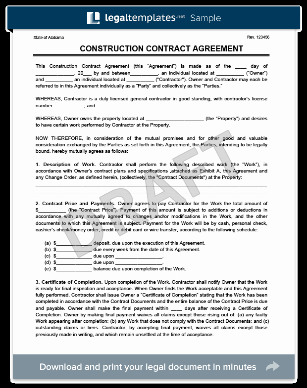 Create A Free Construction Contract Agreement