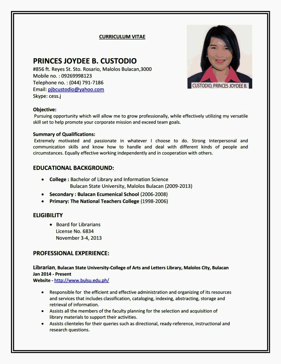 Create A Simple Resume Resume Template