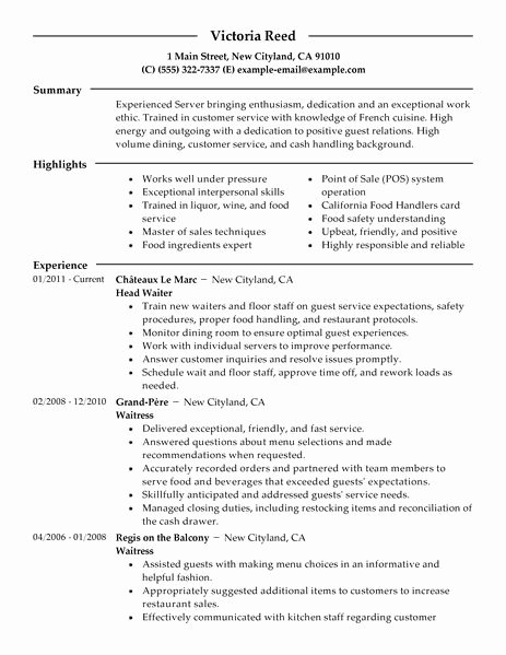 Create Great Server Resume Sample for 2016