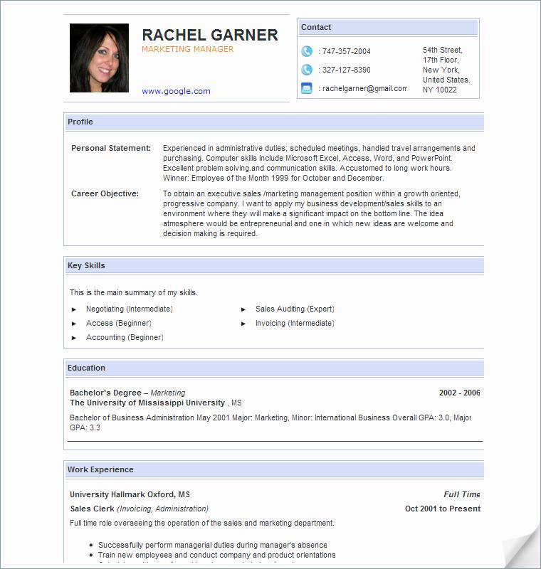 create resume free