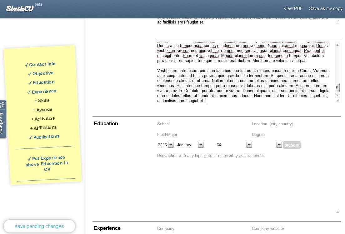 Create Resume Line and It Using Slashcv