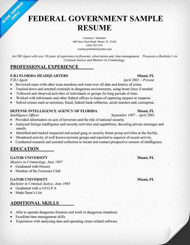 Creating Headers for Federal Resume format 2016