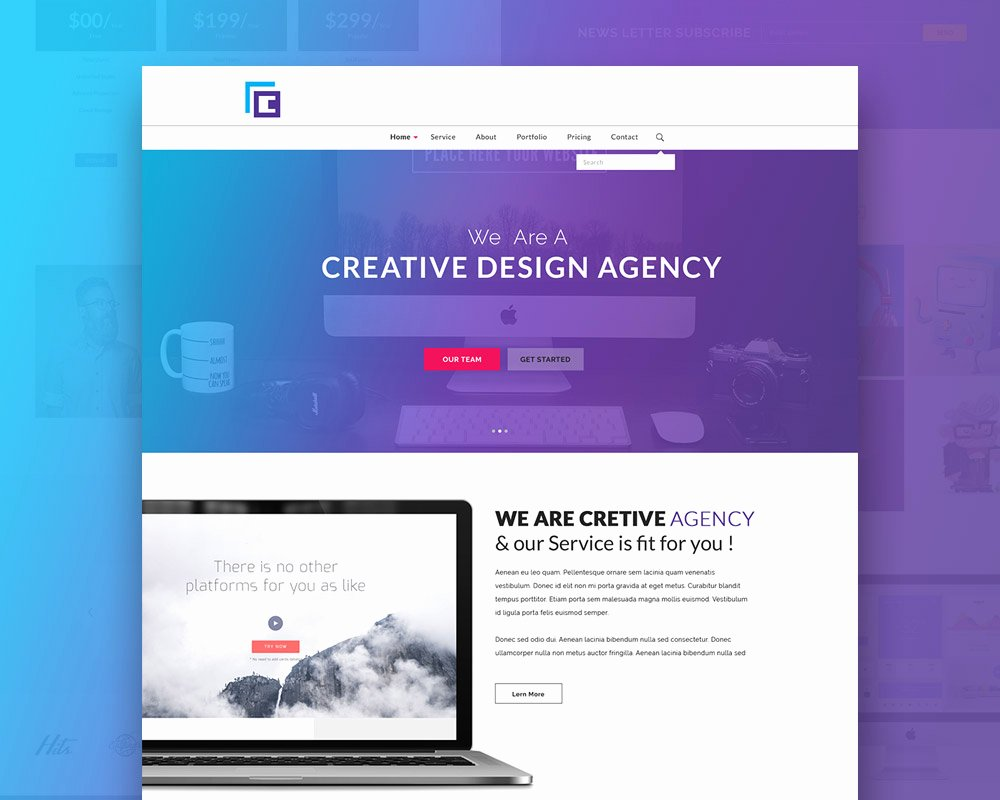 Creative Agency Website Template Free Psd Download