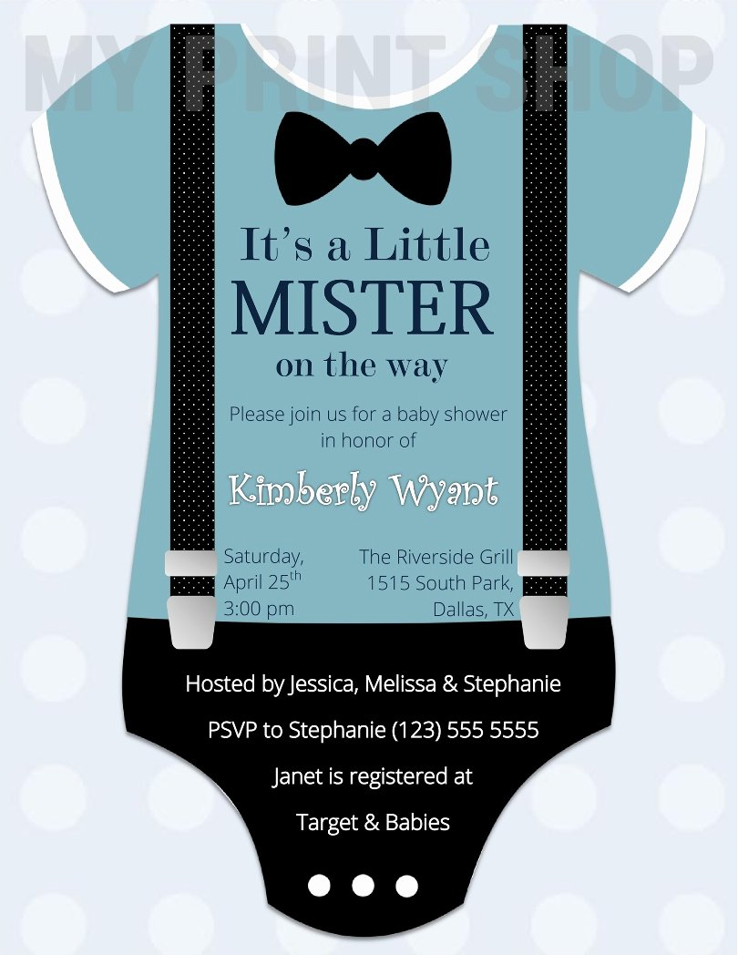 Creative Baby Boy Shower Invitation Template for Word Wy