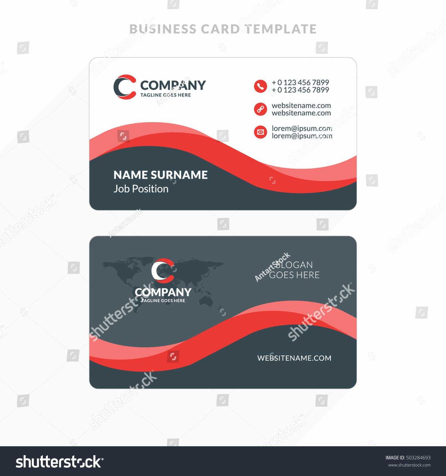 Creative Clean Doublesided Business Card Template Stock