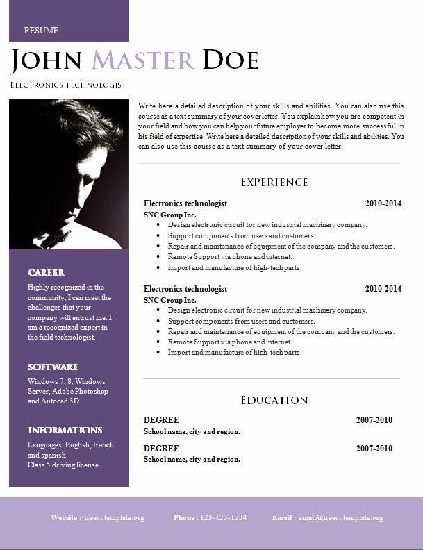 Creative Design Resume Doc format 820 – 825 – Free Cv