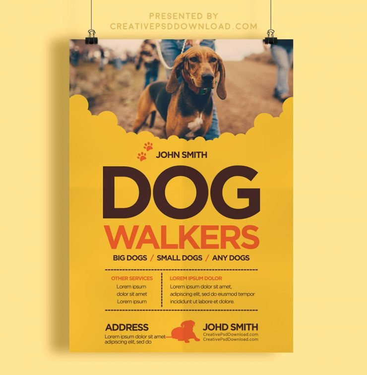 Creative Dog Walkers Flyer Template