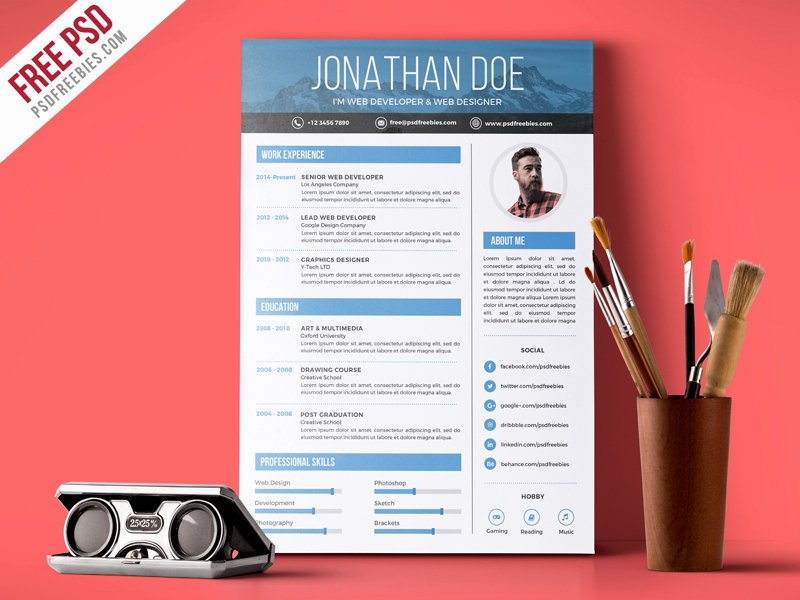 Creative Graphic Designer Resume Psd Template Download