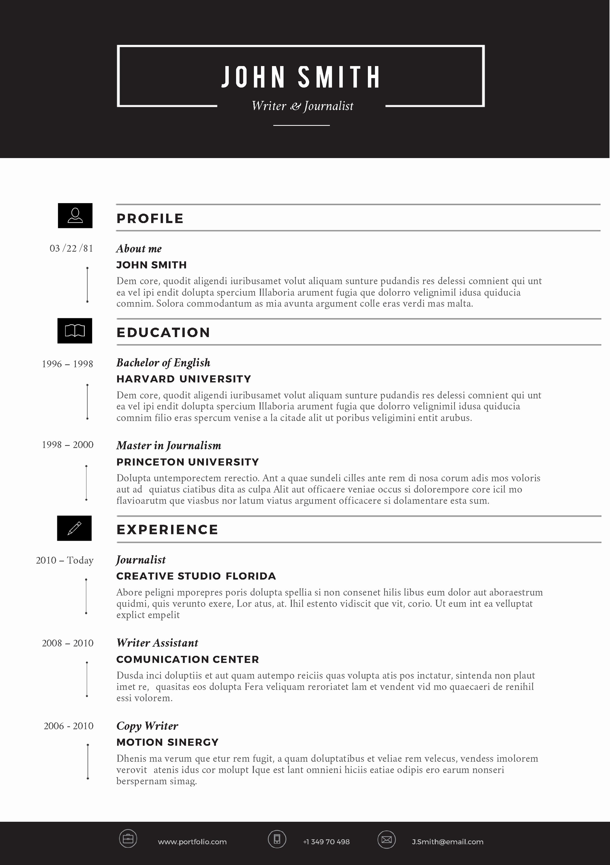 Creative Resume Template by Cvfolio Resumes